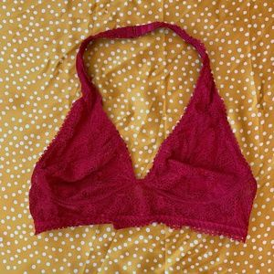 Red lace bralette